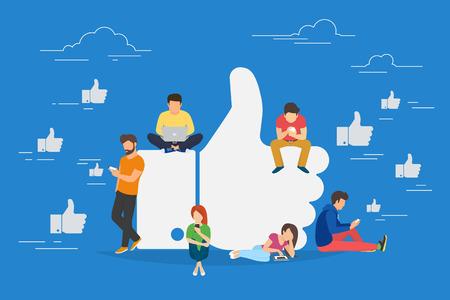 Me gusta la ilustración del concepto de jóvenes que utilizan aparatos móviles, tales como ordenador portátil, Tablet PC y el teléfono inteligente para las redes sociales y los blogs. Diseño plano de los individuos y de las mujeres cerca de símbolo grande Ilustración de vector