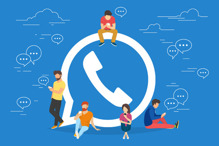 internet symbol: Symbol of mobile messenger concept illustration of young people using mobile gadgets such as tablet pc and smartphone for texting and calling via internet. Flat design of guys and women near symbol Illustration