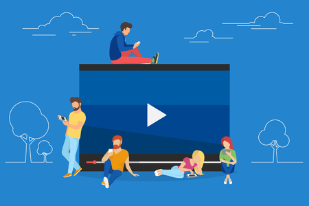 stream: Video watching concept illustration of young people using mobile gadgets, tablet pc and smartphone for live watching a video via internet. Flat design of guys and women staying near big symbol Illustration