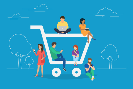 ordering: E-commerce cart concept illustration of young people using mobile gadgets such as tablet and smartphone for online purchasing and ordering goods. Flat guys and women sitting on the ecommerce symbol