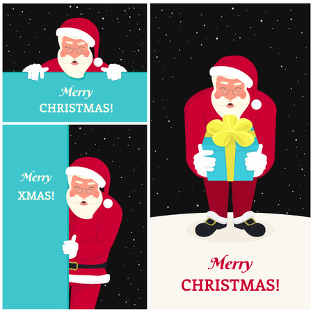 merry chrismas: Set of three smiling Santa Claus wearing red hat and glasses and ribbon with merry chrismas text and gift. Greeting cards set for website banner, flyer, xmas background with copy space