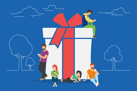 simbolo de la mujer: regalos de Navidad y presenta la ilustración del concepto de personas que utilizan aparatos móviles como tabletas y teléfonos inteligentes para la compra en línea y pedidos de regalos de Navidad. chicos y mujeres planas que se sientan en el símbolo Vectores
