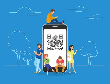QR kod ilustracja pojęcia młodzieży skanowanie kodów kreskowych przy użyciu telefonu smartphone na zakupy i płatności online. Płaskie młodych mężczyzn i kobiet stojących przy dużym smartphone z QR symbol na ekranie