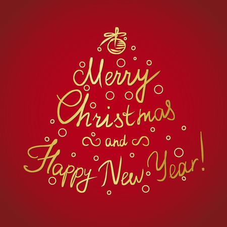 xmas decoration: Merry Christmas and happy new year handmade lettering golden inscription with swirls and xmas tree decoration and ornaments isolated on red background. Xmas decoration for greeting card Illustration