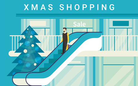 mega city: Christmas shopping mall concept illustration of happy consumer on escalator in supermarket or store. Flat blue design for winter season sale and retail xmas advertising Illustration