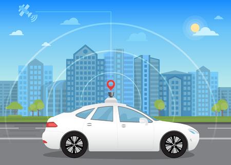 Auto-conducción coche sin conductor inteligente pasa por la ciudad utilizando moderna tecnología GPS de navegación adaptada para el sensor de navegación por satélite y