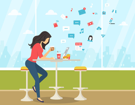 Young woman working with laptop, eating burger and drinking coffee in student cafe. Flat modern illustration of social networking, searching and sending email and texting to friends