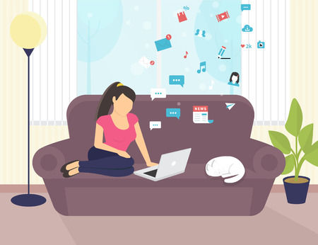 girl laptop: Woman sitting with laptop on the sofa at home and working, she watching a video in social networks.Flat vector illustration of people work or relaxing at home using laptop and typing on computer