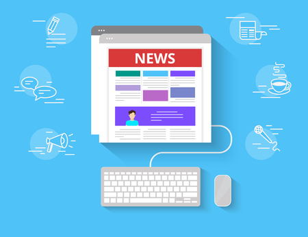 reading news: Online reading news. Flat illustration of online reading news using computer and web browser with outlined symbols. Human female hand typing on keyboard and searching news in networks