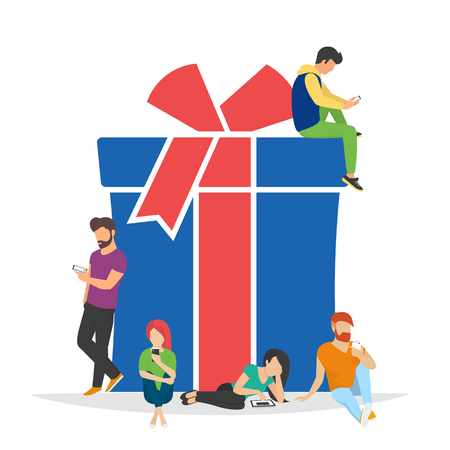 Christmas gifts and presents concept illustration of people using mobile gadgets such as tablet and smartphone for online purchasing and ordering xmas gifts. Flat blue symbol isolated on white