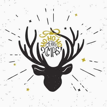 black deer: Ho-ho-ho merry xmas with deer black head silhouette. Retro fashioned illustration of vintage wrapped handwritten christmas text on deer horn. Hipster sunburst rays engrave isolated on white background