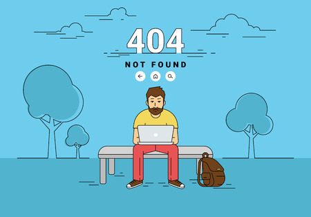not working: 404 error page not found illustration of young upset man is sitting with laptop outdoors and seeing 404 error on screen. Flat outlined illustration of guy working with laptop and problems with website Illustration