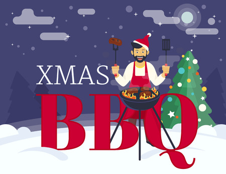 winter barbecue: BBQ xmas holiday party. Flat illustration of guy is cooking beef steak barbecue outdoors near decorated xmas tree and letters bbq. Funny hipster celebrating christmas or a new year and cooking bbq Illustration