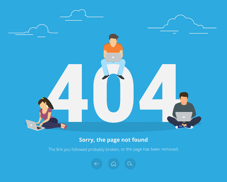 not working: 404 error page not found concept illustration of people using laptops having problems with website. Flat design of guys and women sitting near big symbol 404 on blue background and working on laptops