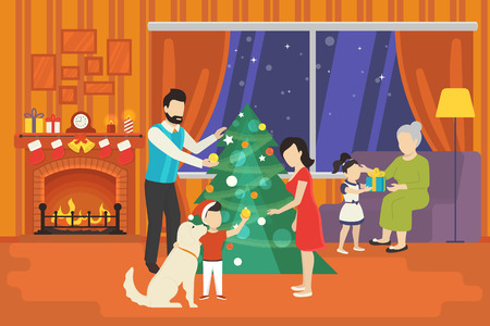 happy family at home: Merry christmas concept illustration of happy family with kids decorating xmas tree and giving gifts from each other at cozy home interior. Happy mother, father and children going to celebrate indoor