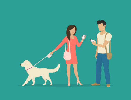 Young woman walking with dog and meeting her male friend. Flat illustration of people communication and sharing data using smartphone and messages