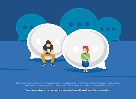 Chat talk addiction concept illustration of young people using smartphones for sending messages to each other via messenger. Flat guy and woman sitting on the big speech bubbles and typing messages