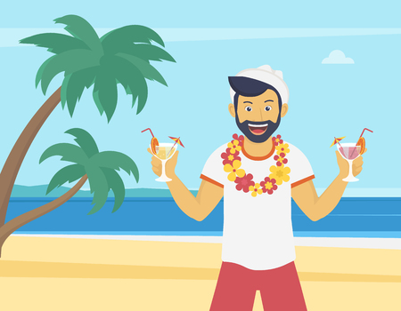 relaxing beach: Happy young man enjoying and drinking cocktails on the beach with palm trees. Welcome to the sea beach flat illustration of vacation time spending and relaxing in the seaside Illustration