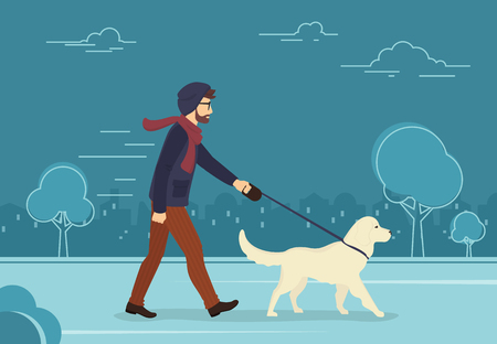 dog walking: Young man walking outdoors with his dog in the evening. Flat concept illustration of people with pets on the street in blue color Illustration