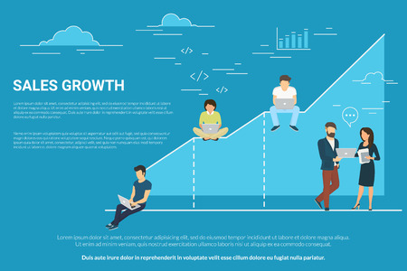 up code: Business graph growth concept illustration