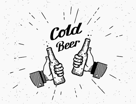 lager beer: Thumbs up symbol icon with beer bottle Illustration