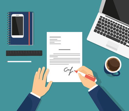 business contract: Sign the contract in the office. Flat illustration of business man signing document and putting his signature on the paper. Professional manager sitting at work desk with laptop and drinking coffee Illustration