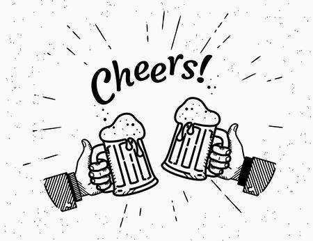 Thumbs up symbol icon with beer bottle Illusztráció