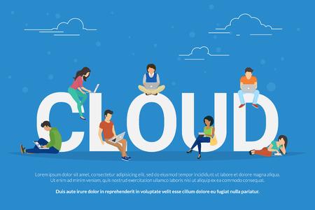 Illustrazione del concetto di cloud computing Vettoriali