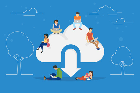 Cloud downloading concept illustration