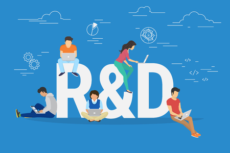 Research and development concept illustration of business people