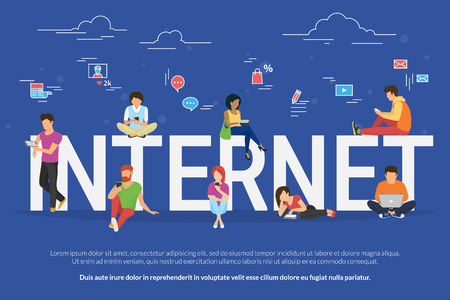 Internet addicted people concept illustration