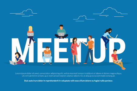 Meetup Konzept Illustration Standard-Bild - 71071867