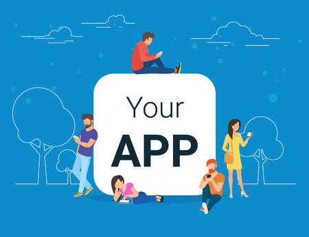 Leute mit Gadgets und mobiler App leer Standard-Bild - 71071882
