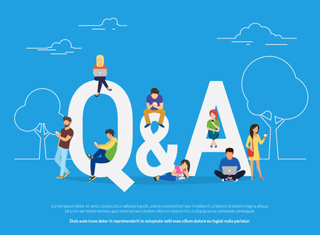 Question and answer concept illustration of young people standing near letters Stock Vector - 72367890