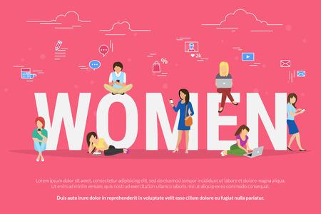 negocios internacionales: Mujeres que se sientan con el ordenador portátil y el teléfono inteligente en letras grandes Vectores