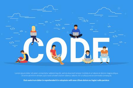 Les jeunes programmeurs codent un nouveau projet Banque d'images - 72868665