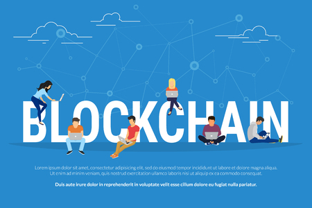 Blockchain concept illustration Stock Illustratie