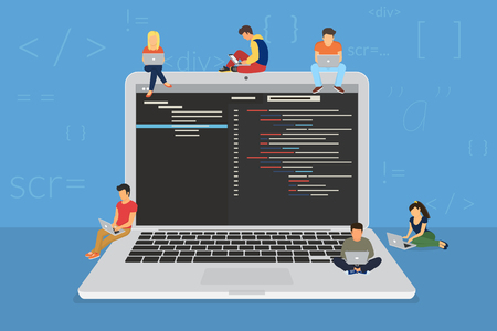 coder: Young programmers coding a new project