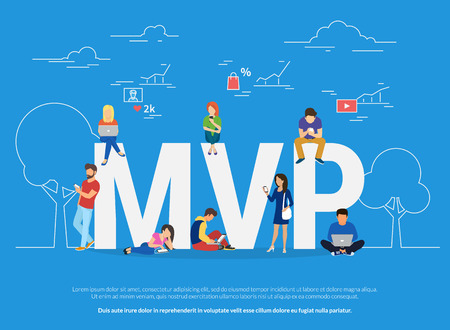viable: MVP concept illustration of business people using devices for buying new apps and digital goods Illustration