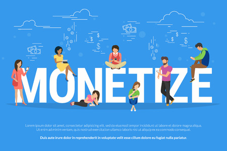 monetize: Monetize concept illustration of business people using devices for buying new apps and digital goods