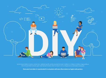 Ilustración de concepto de bricolaje de los jóvenes utilizando dispositivos para ver tutoriales y hacks de la vida