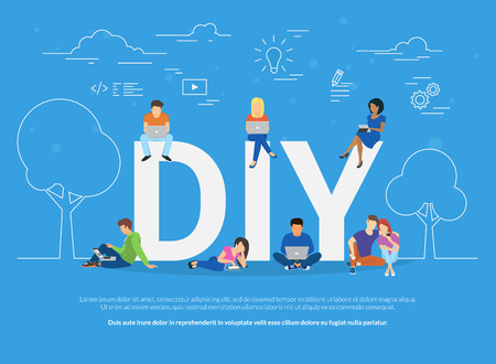DIY concept illustration of young people using devices for watching tutorials and life hacks Illustration