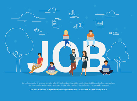 Concepto de trabajo ilustración de la gente de negocios que usan dispositivos para la búsqueda de empleo y el crecimiento profesional