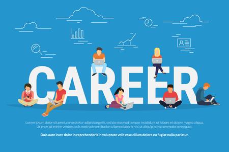 Career-Konzept Illustration von Geschäftsleuten Geräte für Jobsuche und berufliche Entwicklung mit Standard-Bild - 73888346
