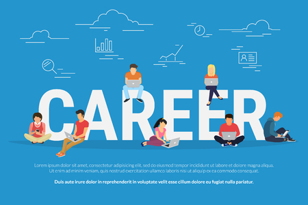 Career concept illustration of business people using devices for job searching and professional growth