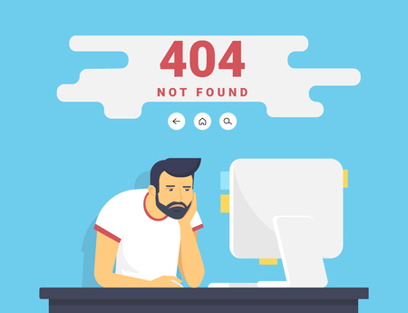 page not found: Man with pc sitting at home 404 page not found error Illustration