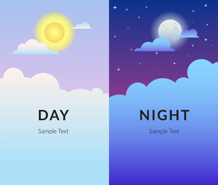 Half day night of sun and moon with clouds gradient design 向量圖像