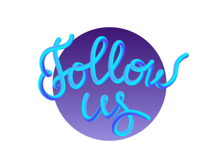Follow us gradient illustration button for social networks