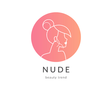 simbolo de la mujer: Women beauty symbol gradient circle icon for makeup trend Vectores