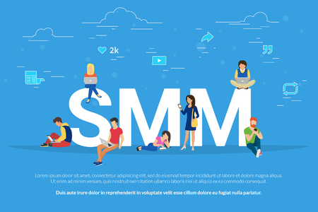 traction engine: SMM concept vector illustration of people